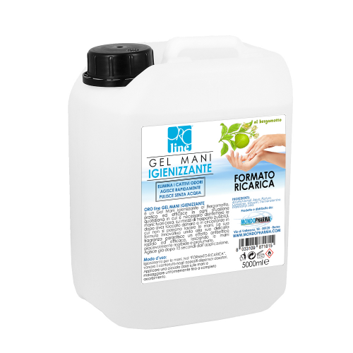 Gel Mani Igienizzante - 5000 ML - al Bergamotto - Alcool più 70%